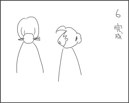 簪一本で髪をまとめる